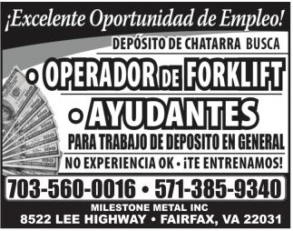 Operador de Forklift / Ayudantes