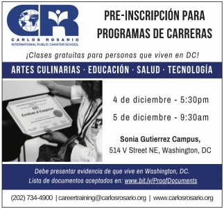 Pre-Inscripcion para Programas de Carreras