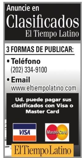 Anuncie en Clasificados El Tiempo Latino