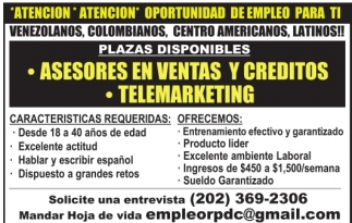 *Atencion* Oportunidad de empleo para ti