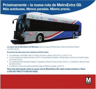 Próximamente - La Nueva Ruta de MetroExtra G9