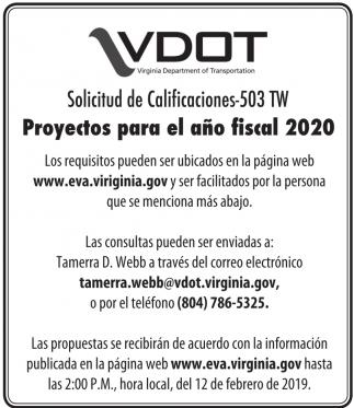 Proyectos para el Año Fiscal 2020