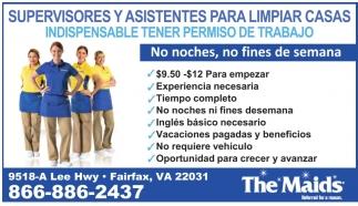 Supervisores y Asistentes para Limpieza de Casas