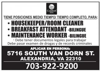 Housekeeper/Room Cleaner