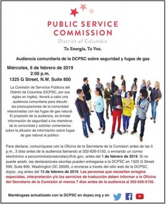 Audiencia Comunitaria de la DCPSC sobre Seguridad y Fugas de Gas