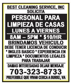 Personal para Limpieza de Casas