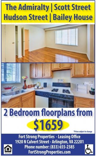 2 Bedroom Floorplans from $1799