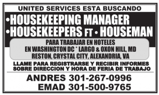 Housekeeping Manager, Housekeepers Ft, Houseman
