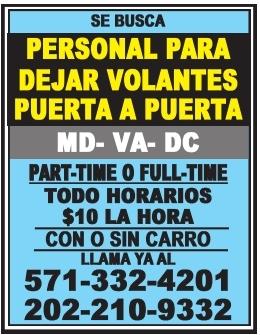 Personal para Dejar Volantes Puerta a Puerta,