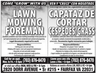 Lawn Mowing Foreman, Capataz de Cortar Cespedes/Grass