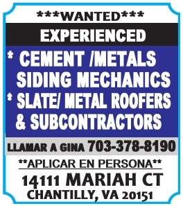 Wanted: Experienced Cement/Metals Siding Mechanics, Slate/Metal Roofers & Subcontractors