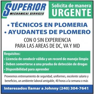 Técnicos en Plomería, Ayudantes de Plomero