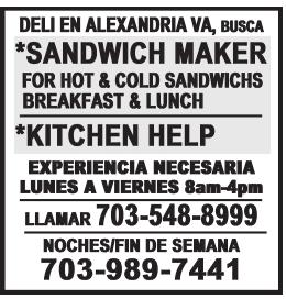 Se busca: Sandwich Banker, Kitchen Help