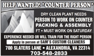 Help Wanted! Counter Person