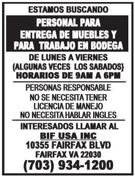 Personal para Entrega de Muebbles y para Trabajo en Bodega