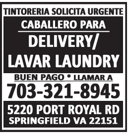 Caballero para Delivery/Lavar Laundry