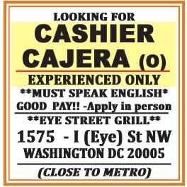 Cashier Cajera(o)