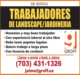 Trabajadores de Landscape/Jardineria