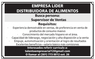 Supervisor de Ventas