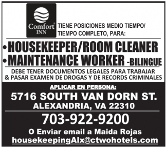 Housekeeper/Room Cleaner and Maintenance Worker