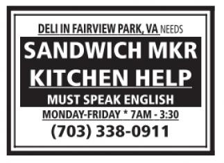 Sandwich Maker & Kitchen Help