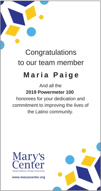 Congratulations to Our Team Member Maria Paige