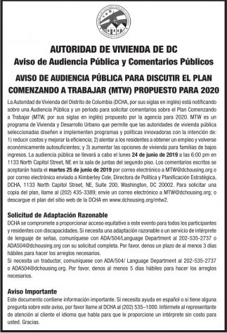 Aviso de Audiencia Publica y Comentarios Publicos