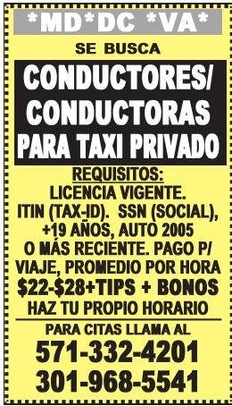 Conductores/Conductoras para Taxi Privado