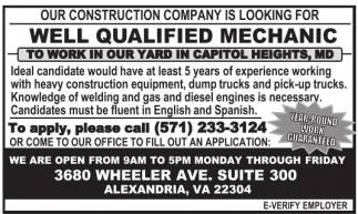 Well Qualified Mechanic