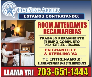 Room Attendants Recamareras