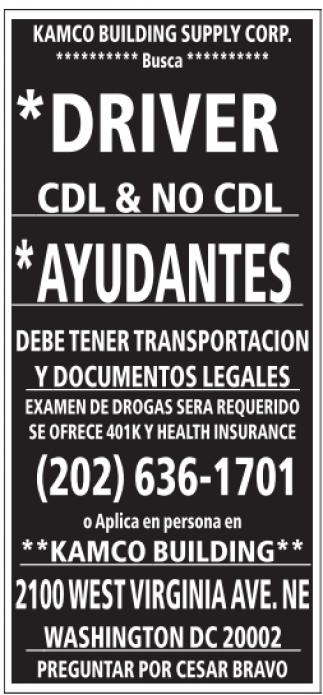 Driver CDL & No CDL / Ayudantes