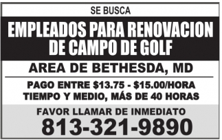 Empleados para Renovacion de Campo de Golf