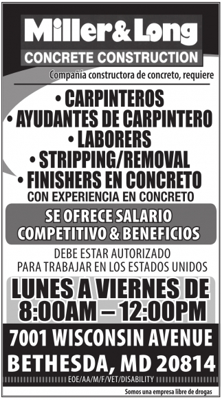 Carpinteros, Ayudantes de Carpintero, Laborers, Stripping, Removal, Finishers en Concreto