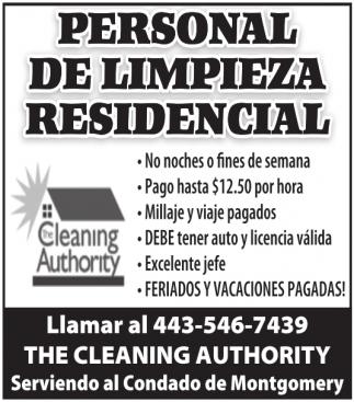 Perosnal de Limpieza Residencial