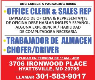 Office Clerk & Sales Rep