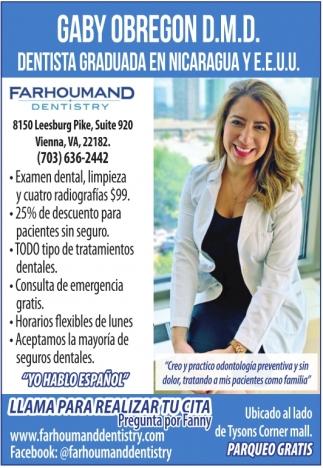 Dentista Graduada en Nicaragua y E.E.U.U.