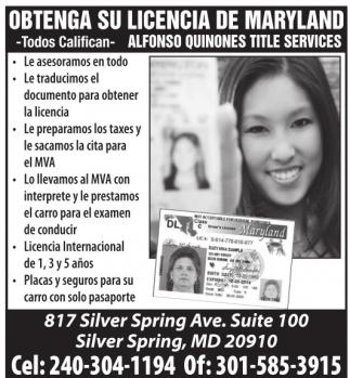 Obtenga su Licencia de Maryland