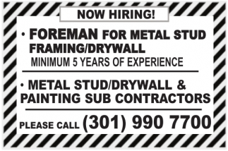 Foreman for Metal Stud