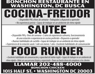 Cocina - Freidor, Sautee, Food Runner