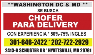 Chofer para Delivery