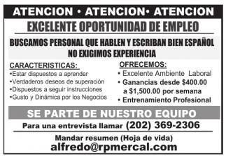 Excelente Oportunidad de Empleo