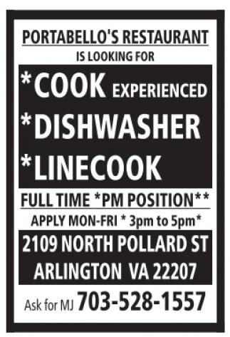 Cook, Dishwasher, Linecook