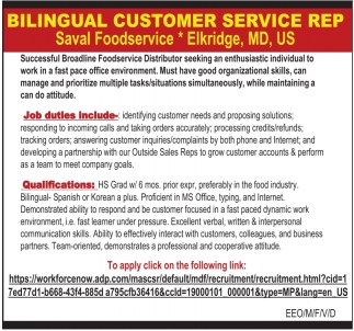 Bilingual Customer Service Rep