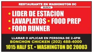 Lider de Estacion / Lavaplatos / Food Prep / Food Runner