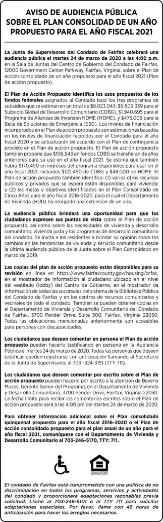 Aviso de audiencia pública Sobre el plan consolidad de un año Propuesto para el año fiscal 2021