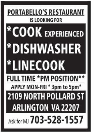 Cook, Dishwasher, Linecook