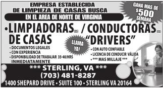 Limpiadoras de Casa / Conductoras