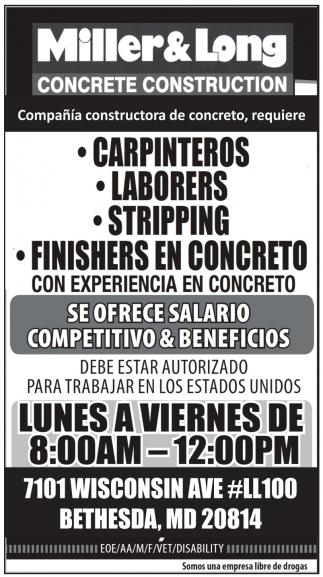 Carpinteros, Ayudantes de Carpintero, Laborers, Stripping, Removal, Finishers en Concreto