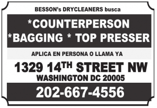 Counterperson, Bagging, Top Presser