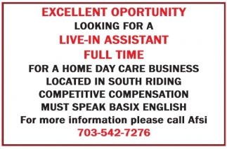 Live-In Assistant Full Time